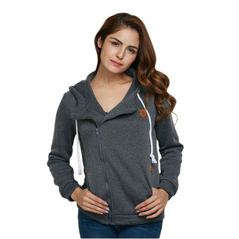 Shops Fashion Hooded Long Sleeve Drawstring Zipper Type Women Coat - DEEP GRAY XL Mobile