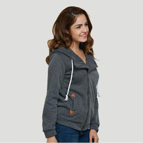 Sale Fashion Hooded Long Sleeve Drawstring Zipper Type Women Coat - DEEP GRAY XL Mobile