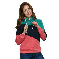 Stylish Hooded Long Sleeve Drawstring Color Block Women Hoodie