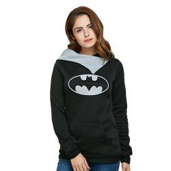 Casual Hooded Long Sleeve Print Pocket Design Women Hoodie - BLACK