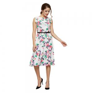 Floral Print Fit and Flare Dress With Belt