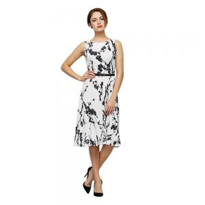 Belted Printed Sleeveless Fit and Flare Dress