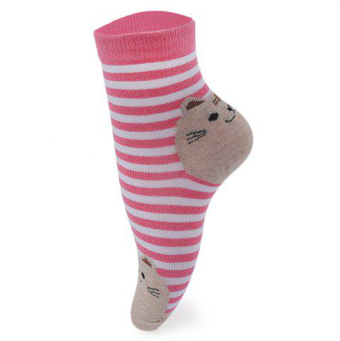 10 Pairs Cartoon Cat Stripe Design Cotton Socks for Girls - Red