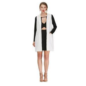 Stand Collar Faux Pocket Loose Suit -