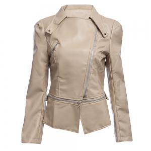 Stylish Turn-down Collar Long Sleeve Zipper Rivet Decoration PU Leather Women Jacket - Khaki - S