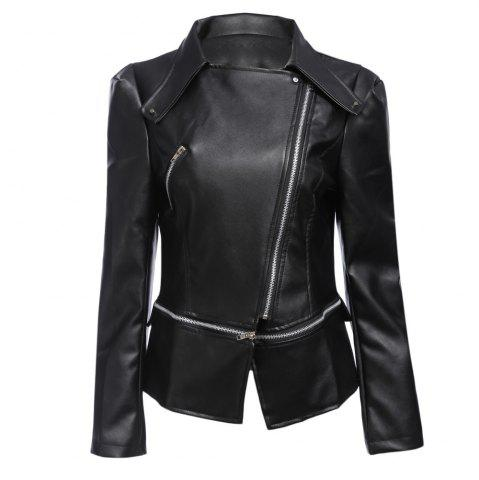 Unique Stylish Turn-down Collar Long Sleeve Zipper Rivet Decoration PU Leather Women Jacket - M BLACK Mobile
