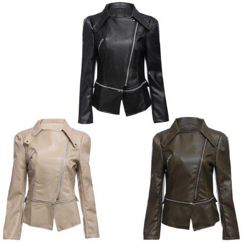 Best Stylish Turn-down Collar Long Sleeve Zipper Rivet Decoration PU Leather Women Jacket - XL BLACK Mobile