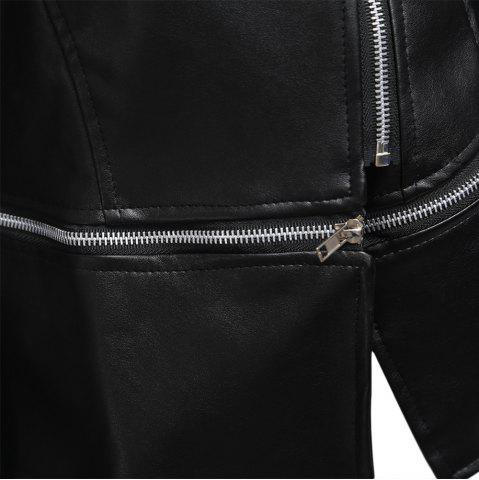 Discount Stylish Turn-down Collar Long Sleeve Zipper Rivet Decoration PU Leather Women Jacket - XL BLACK Mobile
