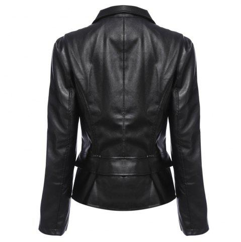 Discount Stylish Turn-down Collar Long Sleeve Zipper Rivet Decoration PU Leather Women Jacket - 3XL BLACK Mobile