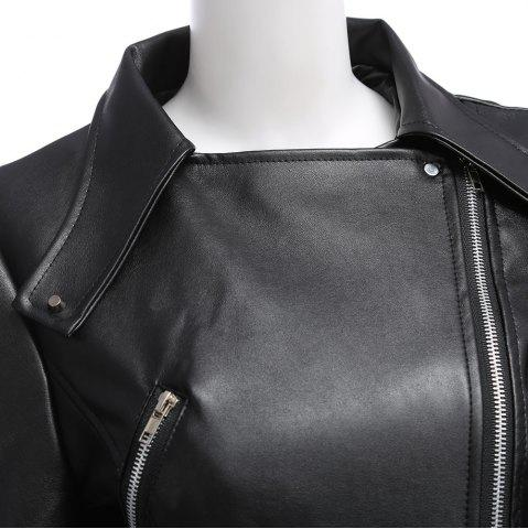 Buy Stylish Turn-down Collar Long Sleeve Zipper Rivet Decoration PU Leather Women Jacket - 3XL BLACK Mobile