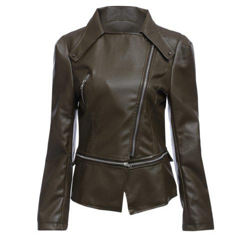 Discount Stylish Turn-down Collar Long Sleeve Zipper Rivet Decoration PU Leather Women Jacket - S OLIVE GREY Mobile