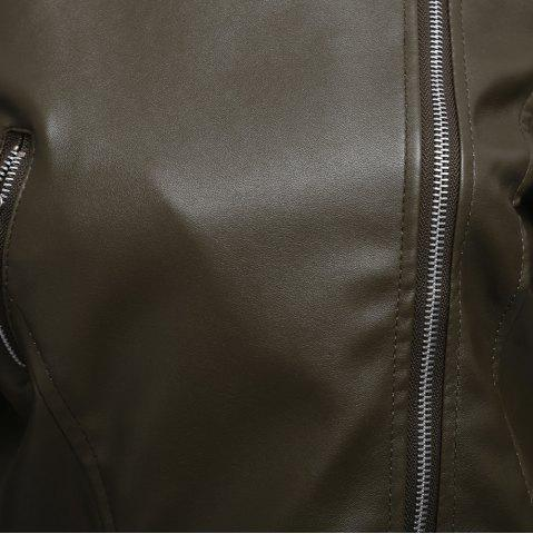 Sale Stylish Turn-down Collar Long Sleeve Zipper Rivet Decoration PU Leather Women Jacket - L OLIVE GREEN Mobile