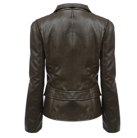 Best Stylish Turn-down Collar Long Sleeve Zipper Rivet Decoration PU Leather Women Jacket - L OLIVE GREEN Mobile