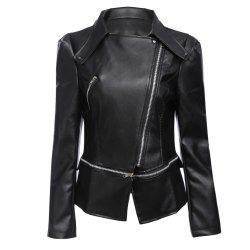 Stylish Turn-down Collar Long Sleeve Zipper Rivet Decoration PU Leather Women Jacket - BLACK