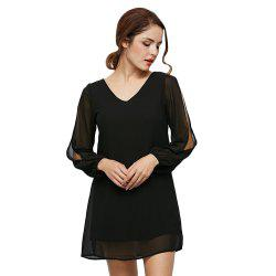 Split Sleeve Chiffon Shift Dress
