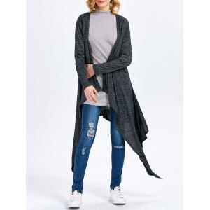Long Sleeve Collarless Hollow Asymmetrical Knit Cardigan - Smoky Gray - M