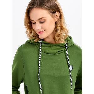 Casual Long Sleeve Hooded Pocket Design Hoodie for Women - GREEN L