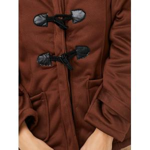Trendy Hooded Long Sleeve Pure Color Button Design Pocket Decoration Women Coat -