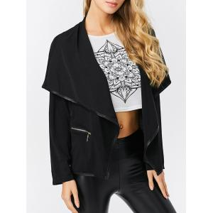 Fashion Turn-down Collar Zipper Pocket Design Women Coat - Black - 2xl