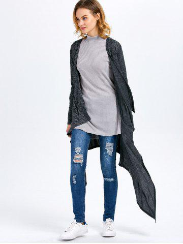Fashion Long Sleeve Collarless Hollow Asymmetrical Knit Cardigan - M SMOKY GRAY Mobile