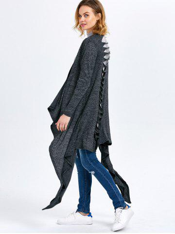 Discount Long Sleeve Collarless Hollow Asymmetrical Knit Cardigan - M SMOKY GRAY Mobile