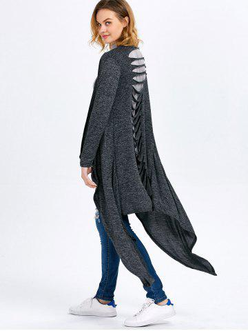 Outfits Long Sleeve Collarless Hollow Asymmetrical Knit Cardigan - M SMOKY GRAY Mobile
