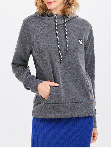 Discount Casual Long Sleeve Hooded Pocket Design Hoodie for Women - L DEEP GRAY Mobile