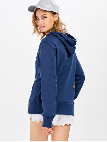 Latest Casual Long Sleeve Hooded Pocket Design Hoodie for Women - L NAVY BLUE Mobile
