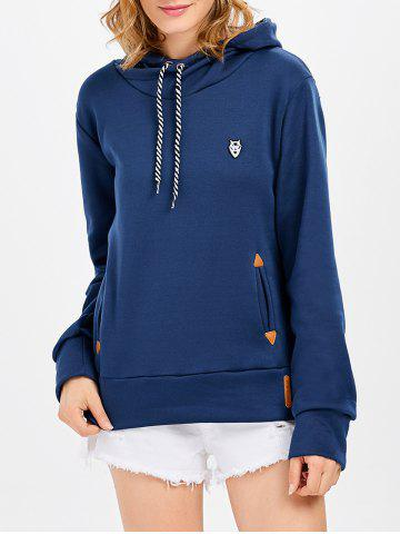 Sale Casual Long Sleeve Hooded Pocket Design Hoodie for Women - L NAVY BLUE Mobile