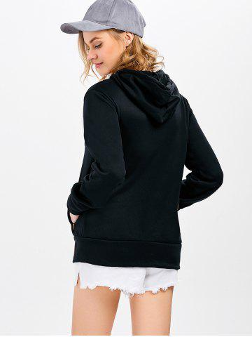 Chic Casual Long Sleeve Hooded Pocket Design Hoodie for Women - L BLACK Mobile