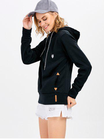 Sale Casual Long Sleeve Hooded Pocket Design Hoodie for Women - L BLACK Mobile