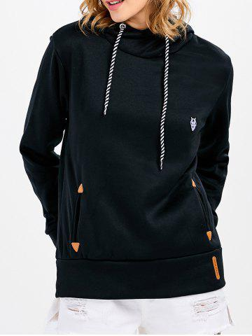 Cheap Casual Long Sleeve Hooded Pocket Design Hoodie for Women - L BLACK Mobile