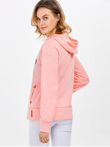 Fancy Casual Long Sleeve Hooded Pocket Design Hoodie for Women - L PINK Mobile