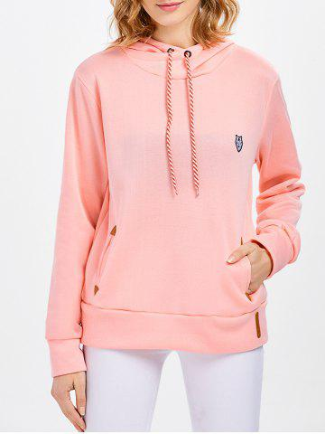 Best Casual Long Sleeve Hooded Pocket Design Hoodie for Women - L PINK Mobile
