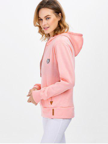 Outfit Casual Long Sleeve Hooded Pocket Design Hoodie for Women - L PINK Mobile