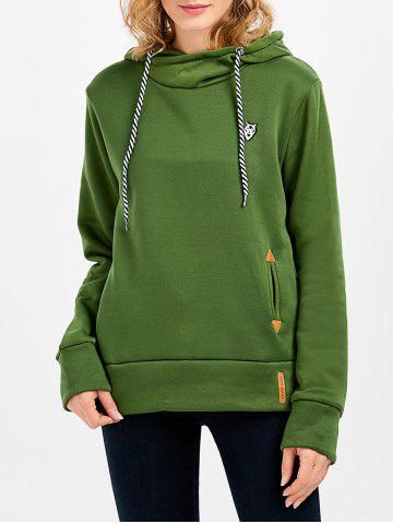 Unique Casual Long Sleeve Hooded Pocket Design Hoodie for Women GREEN L