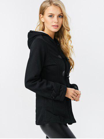 Chic Trendy Hooded Long Sleeve Pure Color Button Design Pocket Decoration Women Coat - M BLACK Mobile