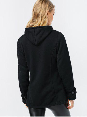 Discount Trendy Hooded Long Sleeve Pure Color Button Design Pocket Decoration Women Coat - M BLACK Mobile