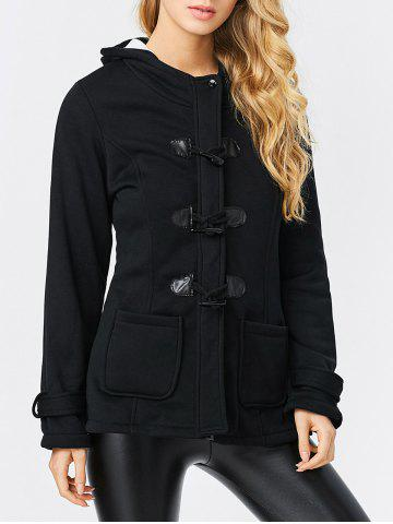 Chic Trendy Hooded Long Sleeve Pure Color Button Design Pocket Decoration Women Coat - XL BLACK Mobile