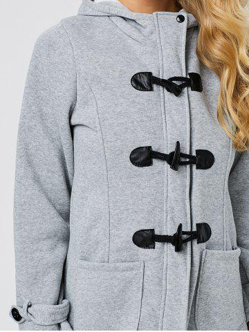 Chic Trendy Hooded Long Sleeve Pure Color Button Design Pocket Decoration Women Coat - L LIGHT GRAY Mobile