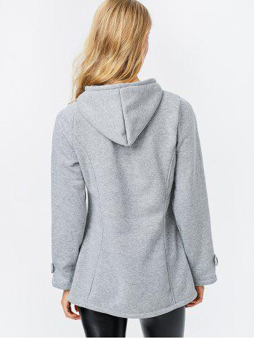 Outfit Trendy Hooded Long Sleeve Pure Color Button Design Pocket Decoration Women Coat - L LIGHT GRAY Mobile