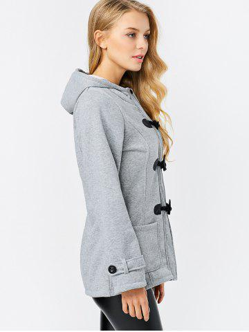 Outfit Trendy Hooded Long Sleeve Pure Color Button Design Pocket Decoration Women Coat - 2XL LIGHT GRAY Mobile