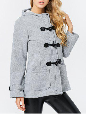 Shops Trendy Hooded Long Sleeve Pure Color Button Design Pocket Decoration Women Coat - 2XL LIGHT GRAY Mobile