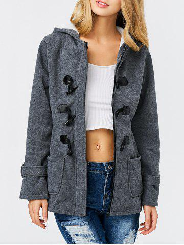 Chic Trendy Hooded Long Sleeve Pure Color Button Design Pocket Decoration Women Coat - L DEEP GRAY Mobile