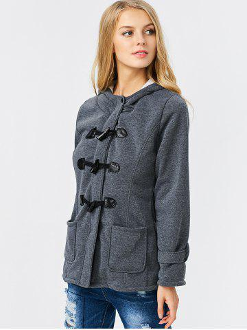 Outfits Trendy Hooded Long Sleeve Pure Color Button Design Pocket Decoration Women Coat - L DEEP GRAY Mobile
