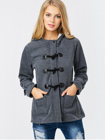 Outfits Trendy Hooded Long Sleeve Pure Color Button Design Pocket Decoration Women Coat - XL DEEP GRAY Mobile