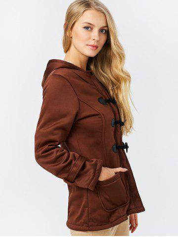 Cheap Trendy Hooded Long Sleeve Pure Color Button Design Pocket Decoration Women Coat - M DARK KHAKI Mobile