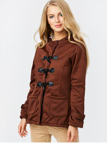 Best Trendy Hooded Long Sleeve Pure Color Button Design Pocket Decoration Women Coat - M DARK KHAKI Mobile