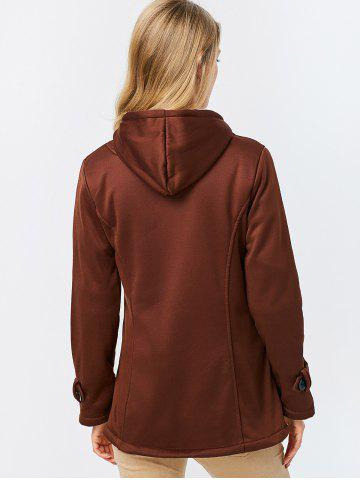 Online Trendy Hooded Long Sleeve Pure Color Button Design Pocket Decoration Women Coat - L DARK KHAKI Mobile
