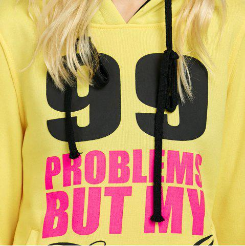Discount Casual Hooded Long Sleeve Drawstring Letter Print Women Hoodie - L YELLOW Mobile